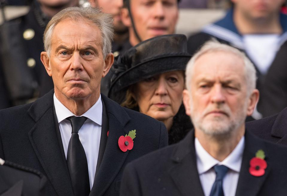 Former prime minster Tony Blair (left) and Labour leader Jeremy Corbyn, during the annual Remembrance Sunday Service at the Cenotaph memorial in Whitehall, central London.