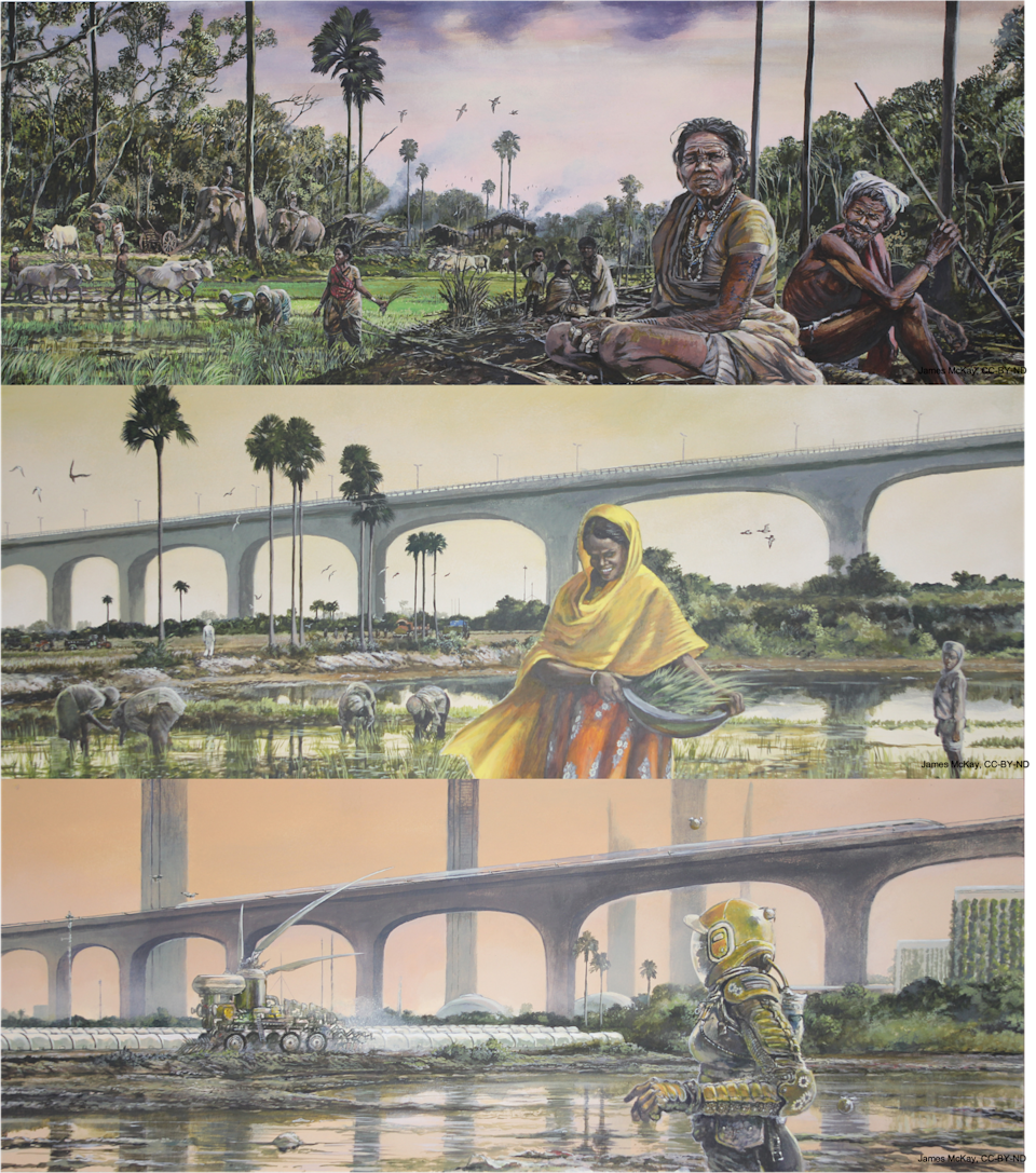 A triptych of social and infrastructure changes over time due to the severity of climate change