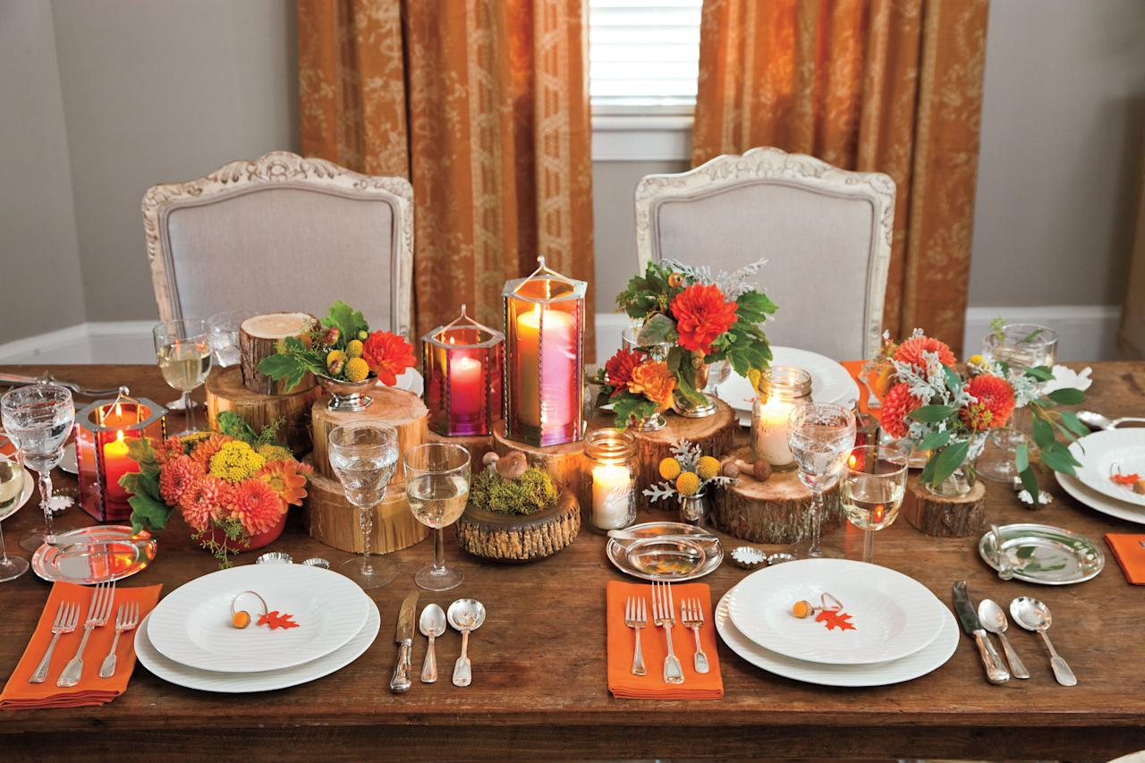 <p>Complete your tablescape by adding candles in fun lanterns that complement your color palatte. Mix in simple canning jars for a more casual affair.</p>