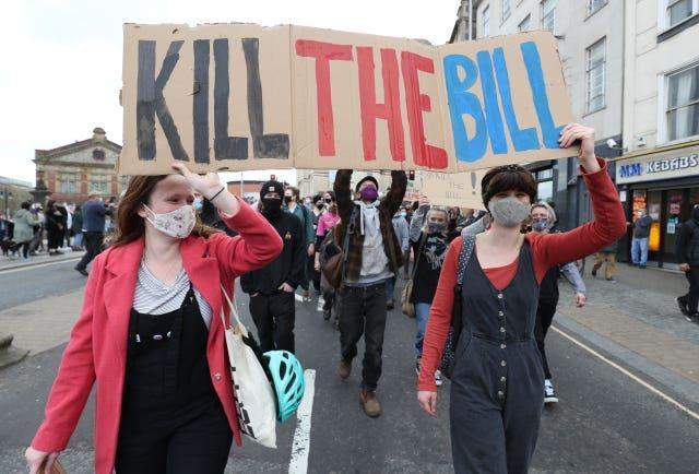 People take part in a 'Kill the Bill' protest in Bristol