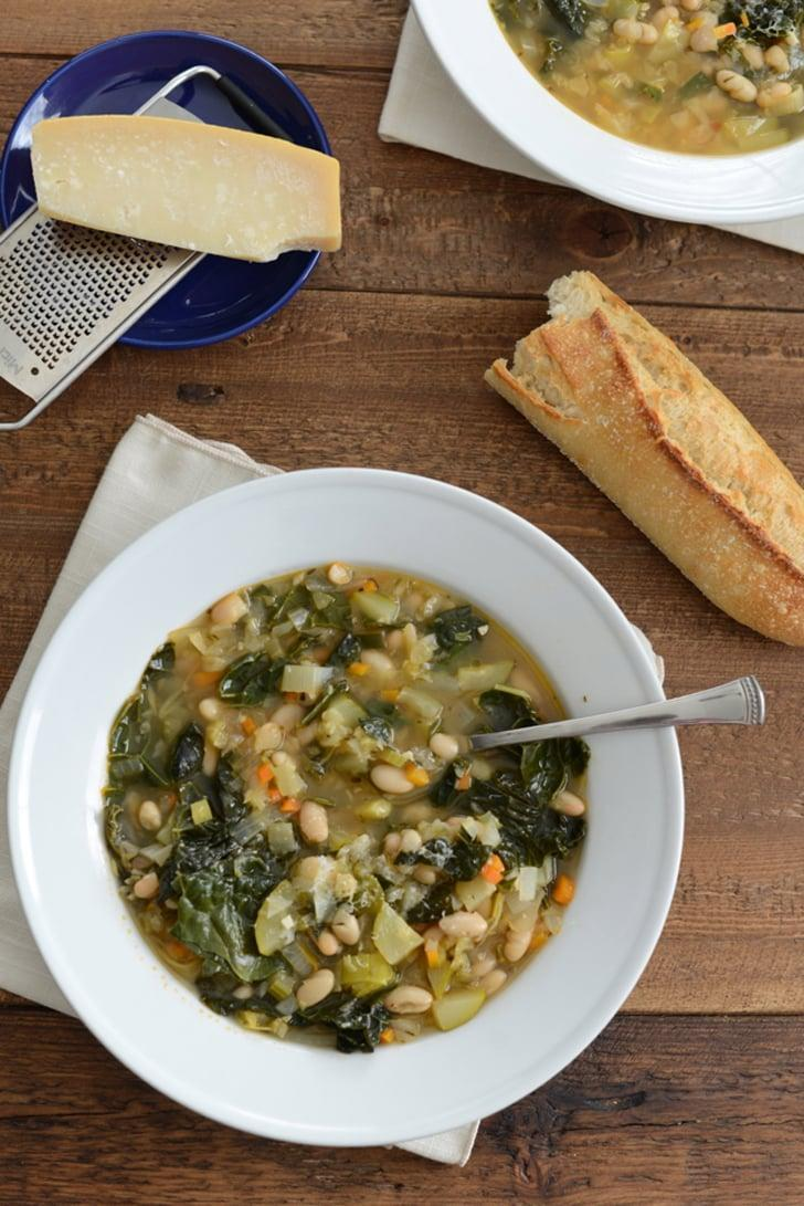 """<p><strong>Get the recipe</strong>: <a href=""""http://www.mlovesmblog.com/2014/11/tuscan-white-bean-and-vegetable-soup.html"""" class=""""link rapid-noclick-resp"""" rel=""""nofollow noopener"""" target=""""_blank"""" data-ylk=""""slk:Tuscan white bean and vegetable soup"""">Tuscan white bean and vegetable soup</a><br> <strong>Cans needed:</strong> cannelini beans, Great Northern beans</p>"""