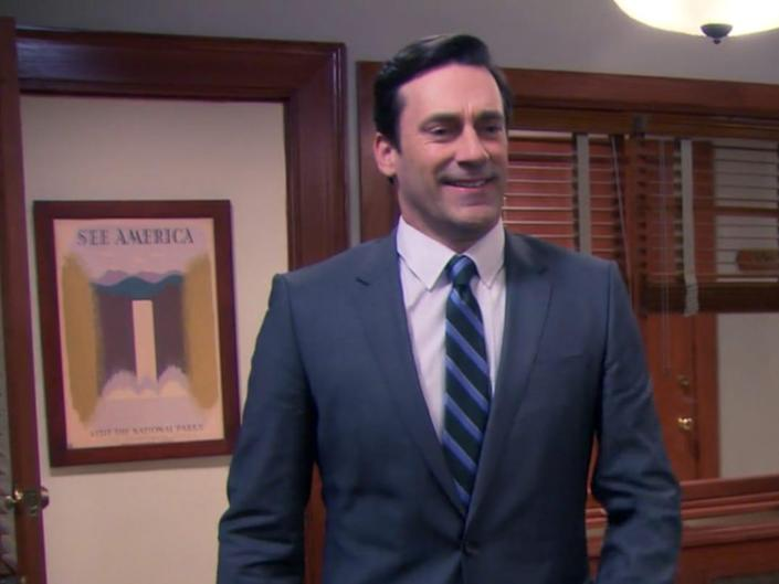 jon hamm parks and rec employee work office suit man