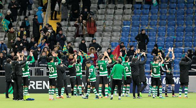 Soccer Football - Europa League Round of 32 First Leg - Astana vs Sporting CP - Astana Arena, Astana, Kazakhstan - February 15, 2018 Sporting's players applaud fans after the match REUTERS/Alexei Filippov