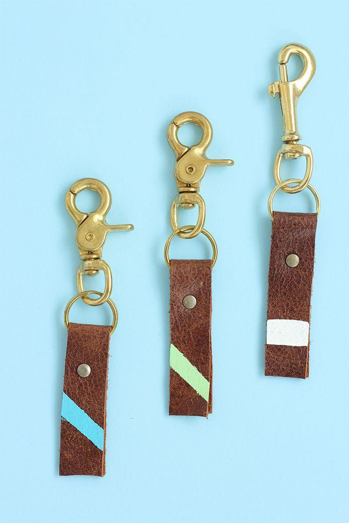 """<p>For a last-minute Father's Day craft that still feels inspired, consider this homemade leather keychain. </p><p><a href=""""https://www.aliceandlois.com/diy-fathers-day-leather-keychain/"""" rel=""""nofollow noopener"""" target=""""_blank"""" data-ylk=""""slk:Get the tutorial."""" class=""""link rapid-noclick-resp"""">Get the tutorial.</a></p><p><a class=""""link rapid-noclick-resp"""" href=""""https://www.amazon.com/gp/product/B0167C9YRE/ref=as_li_tl?camp=1789&creative=9325&creativeASIN=B0167C9YRE&ie=UTF8&linkCode=as2&linkId=2Z6QKXLEHC5U3I56&tag=syn-yahoo-20&ascsubtag=%5Bartid%7C10072.g.27603456%5Bsrc%7Cyahoo-us"""" rel=""""nofollow noopener"""" target=""""_blank"""" data-ylk=""""slk:SHOP LEATHER CLASP"""">SHOP LEATHER CLASP</a></p>"""