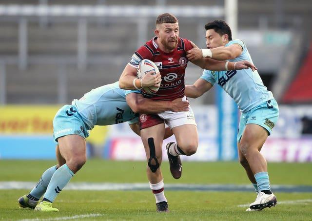 Jackson Hastings, centre, was named Man of Steel in 2019 (Martin Rickett/PA)