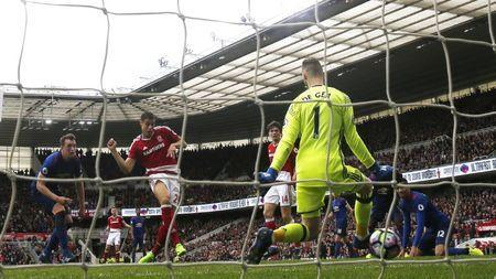 Middlesbrough v Manchester United - Premier League - The Riverside Stadium - 19/3/17 Middlesbrough's Rudy Gestede scores their first goal Action Images via Reuters / Lee Smith Livepic