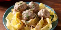 """<p>Guys... we finally cracked the code. Savoury spiced meatballs in a creamy, velvety sauce... <strong>without</strong> the schlep to Ikea. </p><p>Get the <a href=""""https://www.delish.com/uk/cooking/recipes/a30100558/easy-swedish-meatballs-recipe/"""" rel=""""nofollow noopener"""" target=""""_blank"""" data-ylk=""""slk:Swedish Meatballs"""" class=""""link rapid-noclick-resp"""">Swedish Meatballs</a> recipe. </p>"""