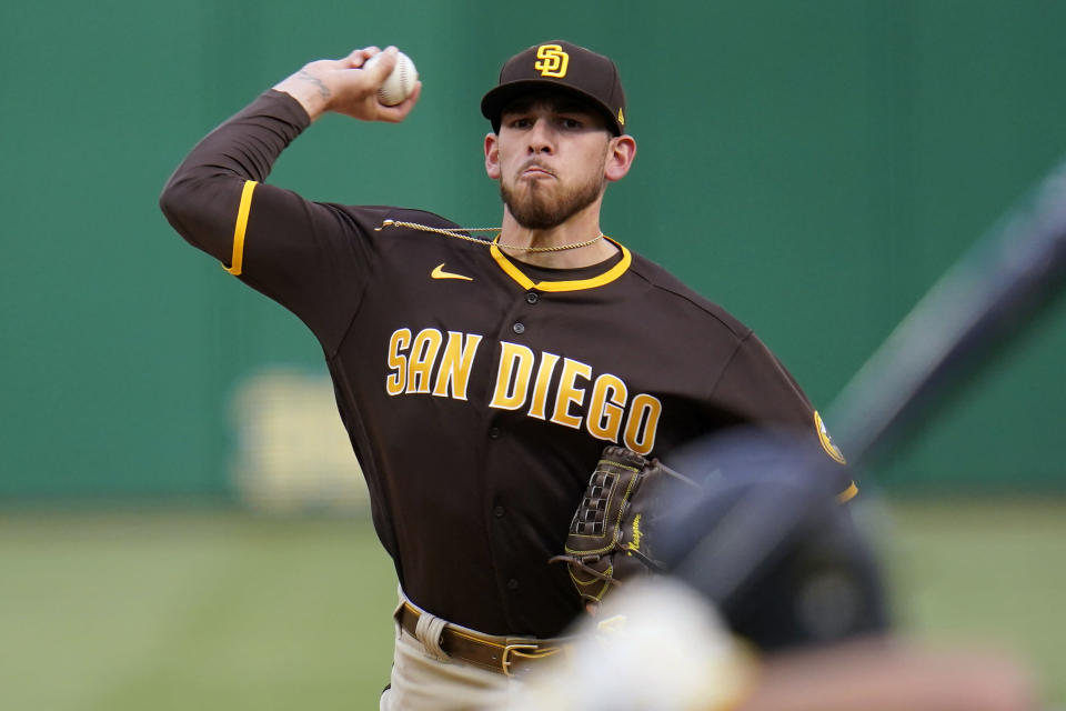 San Diego Padres starting pitcher Joe Musgrove delivers during the first inning of the team's baseball game against the Pittsburgh Pirates in Pittsburgh, Wednesday, April 14, 2021. (AP Photo/Gene J. Puskar)