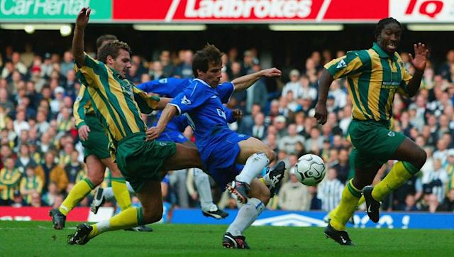 <p><strong>24th August 2002 vs Leeds United</strong></p> <br><p>Beaten 1-0 in their Premier League opener by Manchester United, West Brom opened their account in 2002/03 when versatile summer signing Lee Marshall (pictured attempting a tackle in another game against Chelsea) scored a late consolation in a 3-1 loss against Leeds.</p> <br><p>The Baggies did manage to win three straight games as August became September, but their maiden Premier League season ultimately ended in relegation.</p>