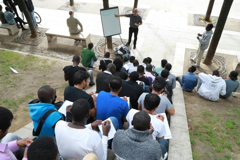 The open-air classroom in northeast Paris for migrants waiting for a decision by the French government on their asylum claim