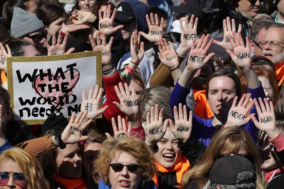 <p>Protesters gather for the March for Our Lives rally along Pennsylvania Avenue in Washington, D.C. (Photo: Chip Somodevilla/Getty Images) </p>