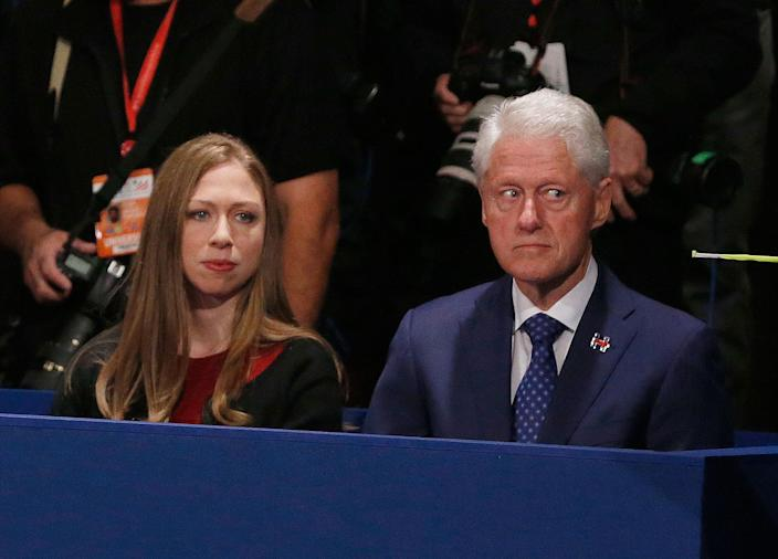 <p>OCT. 9, 2016 — Chelsea Clinton, daughter of Hillary Clinton and former President Bill Clinton watch during the second presidential debate sbetween Republican presidential nominee Donald Trump and Democratic presidential nominee Hillary Clinton at Washington University in St. Louis. (Jim Bourg/Pool via AP) </p>