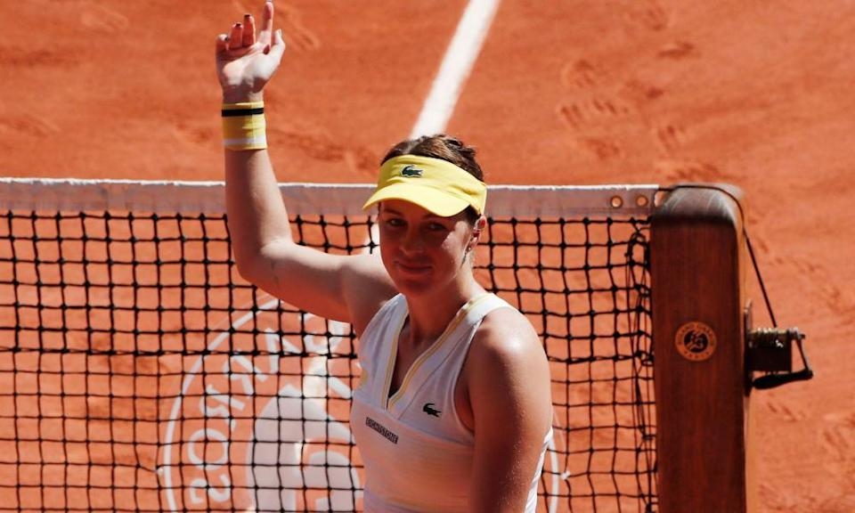 Anastasia Pavlyuchenkova acknowledges the crowd after securing her place in the French Open final.
