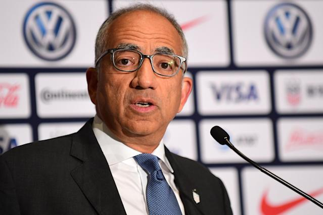 U.S. Soccer president Carlos Cordeiro spoke with media Friday after the federation's board of directors meeting. (Emilee Chinn/Getty Images)