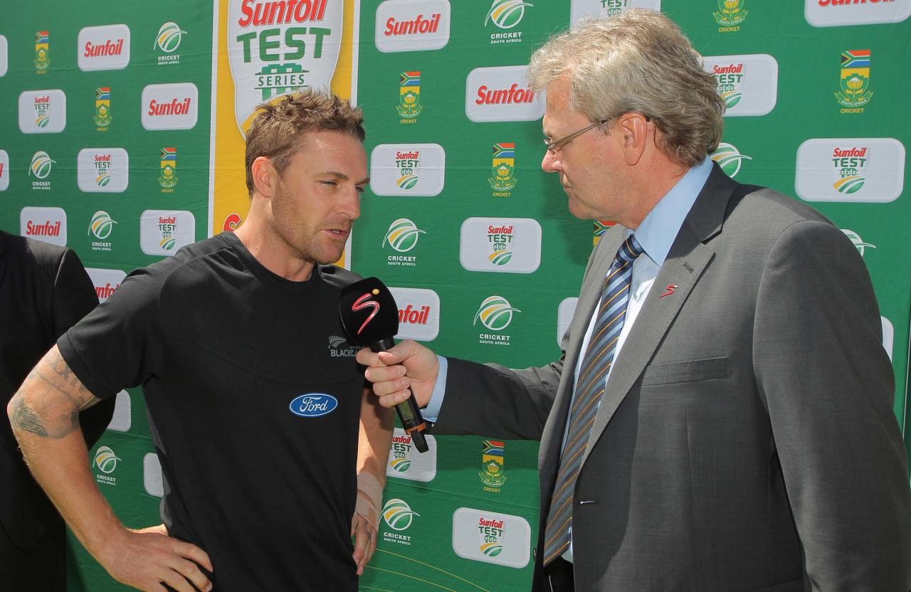 CAPE TOWN, SOUTH AFRICA - JANUARY 04: Brendon McCullum of New Zealand gives a post match interview during day 3 of the 1st Test between South Africa and New Zealand at Sahara Park Newlands on January 04, 2013 in Cape Town, South Africa.  (Photo by Carl Fourie/Gallo Images)