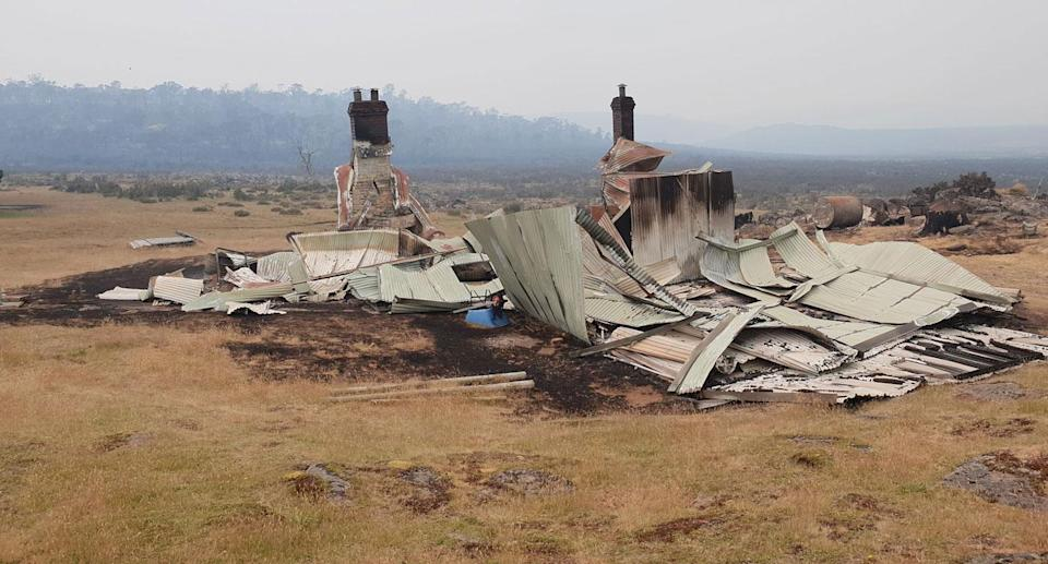 A house at Skittle Ball Plains near Miena destroyed by bushfire. Source: Facebook/ Tasmania Fire Service