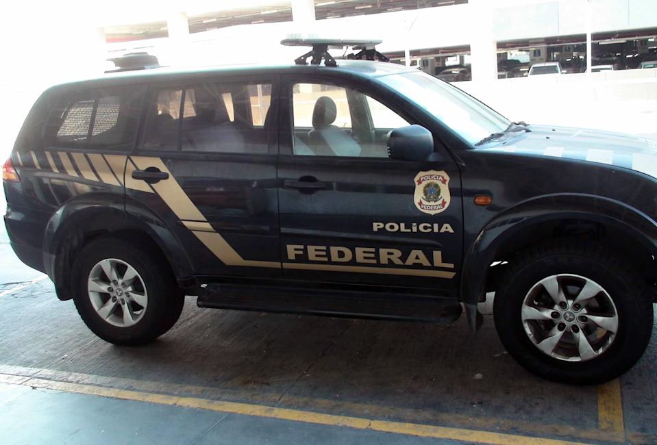 Scene Of Brazilian Federal Police Land Vehicle Parked At Rio De Janeiro International Airport Without Nobody Inside The Vehicle During The Day In Brazil South America