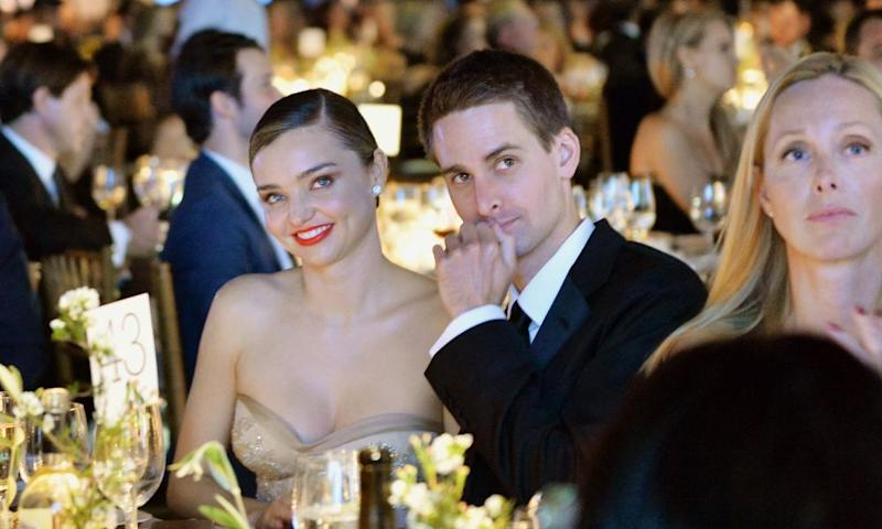 Snapchat founder Evan Spiegel and his partner, model Miranda Kerr, at a gala in Californi
