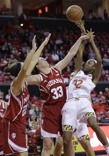 Maryland guard Shatori Walker-Kimbrough, right, shoots over Indiana guard Alexis Gassion, left, and forward Amanda Cahill in the second half of an NCAA college basketball game, Thursday, Feb. 26, 2015, in College Park, Md. Maryland won 83-72. (AP Photo/Patrick Semansky)