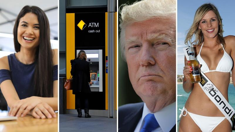 Canva's Melanie Perkins, Commonwealth Bank ATM, Donald Trump and bikini model with a beer in hand.