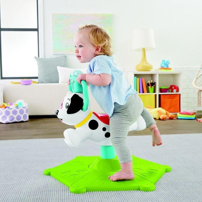 """<p>The <a href=""""https://www.popsugar.com/buy/Fisher-Price-Bounce-Spin-Puppy-454492?p_name=Fisher-Price%20Bounce%20and%20Spin%20Puppy&retailer=buybuybaby.com&pid=454492&price=60&evar1=moms%3Aus&evar9=45804853&evar98=https%3A%2F%2Fwww.popsugar.com%2Ffamily%2Fphoto-gallery%2F45804853%2Fimage%2F45805147%2FFisher-Price-Bounce-Spin-Puppy&list1=gifts%2Ctoys%2Cgift%20guide%2Ctoy%20fair%2Cgifts%20for%20kids%2Ckids%20toys%2Cgifts%20for%20toddlers%2Cbest%20of%202019&prop13=api&pdata=1"""" rel=""""nofollow"""" data-shoppable-link=""""1"""" target=""""_blank"""" class=""""ga-track"""" data-ga-category=""""Related"""" data-ga-label=""""https://www.buybuybaby.com/store/product/fisher-price-reg-bounce-amp-spin-puppy/5321995"""" data-ga-action=""""In-Line Links"""">Fisher-Price Bounce and Spin Puppy</a> ($60) is a stationary ride-on for kids ages 1 and up that bounces and spins 360 degrees.</p>"""