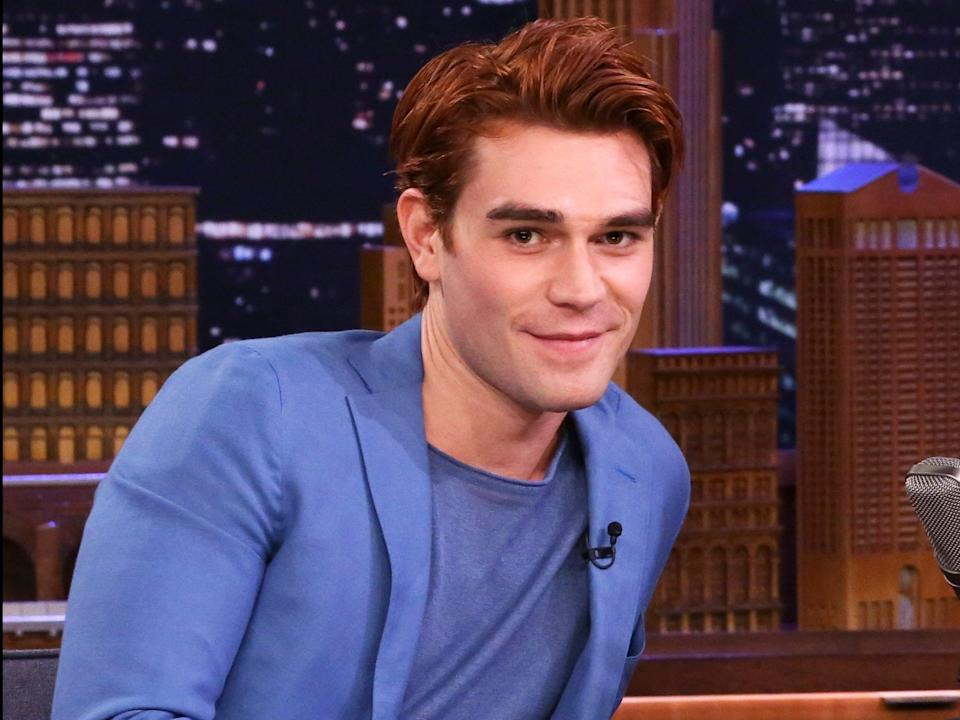 "This is what KJ Apa looks like when he's filming The CW's ""Riverdale."""