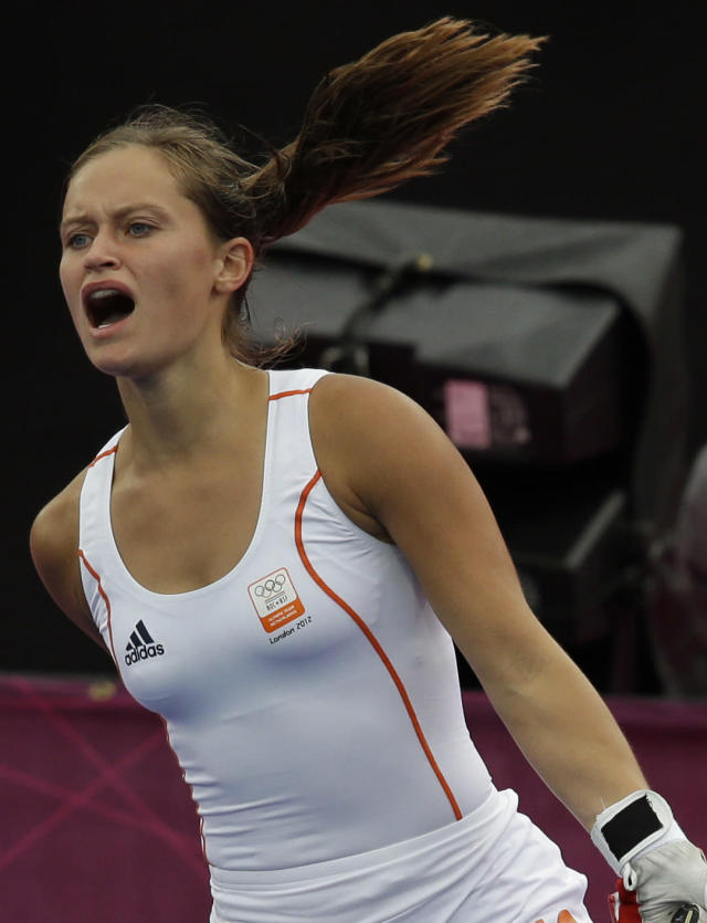 The Netherlands' Kelly Jonker reacts to a call during a women's preliminary match against Japan at the 2012 Summer Olympics, Tuesday, July 31, 2012, in London. The Netherlands won 3-2. (AP Photo/Bullit Marquez)