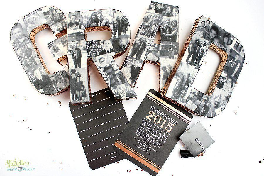 """<p>Celebrate all the good times in school with this black and white photo collage. Of course, you can create it in color too. </p><p><strong>See the tutorial at </strong><a href=""""https://michellespartyplanit.com/2015/04/graduation-party-ideas/"""" rel=""""nofollow noopener"""" target=""""_blank"""" data-ylk=""""slk:Michelle's Party Plan-It"""" class=""""link rapid-noclick-resp""""><strong>Michelle's Party Plan-It</strong></a><strong>.</strong></p><p><a class=""""link rapid-noclick-resp"""" href=""""https://www.amazon.com/Mod-Podge-Dishwasher-Waterbased-8-Ounce/dp/B00JX1OFDU/?tag=syn-yahoo-20&ascsubtag=%5Bartid%7C10050.g.31121022%5Bsrc%7Cyahoo-us"""" rel=""""nofollow noopener"""" target=""""_blank"""" data-ylk=""""slk:SHOP MOD PODGE""""><strong>SHOP MOD PODGE</strong></a></p>"""