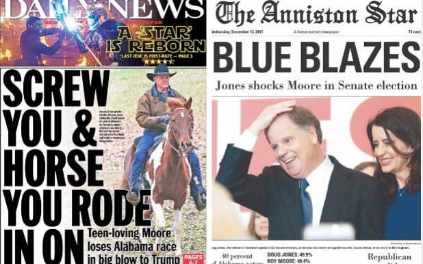 """Doug Jones has become the first Democrat to win in a US Senate seat in the deep red state of Alabama in 25 years after beating Republican candidate Roy Moore, who has faced multiple accusations of sexual assault. Mr Moore had been the favourite in the staunchly Republican state until a number of women came forward to claim that the judge had assaulted them when they were teenagers. Mr Moore has denied all the allegations, but his bitter fought campaign caused deep divisions within the Republican party. The special election result has sent shock waves through Capitol Hill and is a personal blow for President Donald Trump, who backed Mr Moore, as it narrows the Republican's Senate majority to 51-49. The result also brings attention to the state's African American vote which is credited with securing Mr Jones' 49.9 per cent victory. Mr Moore has faced backlash from the state and national newspapers, with many ridiculing his decision to arrive at a polling station on horseback. A controversial figure, Mr Moore has previously said homosexual activity should be illegal and praised an era of US history that included slavery as a """"great time"""". The firebrand conservative politician has so far refused to concede the election, saying """"it's not over"""". Here's how the newspapers reported an extraordinary day in American politics: New York Daily News Bama bucks the perv! https://t.co/9ZaMFXw7aA An early look at Wednesday's front... pic.twitter.com/HkiiBl4v0V— New York Daily News (@NYDailyNews) December 13, 2017 New York Post Wednesday's cover: Democrat Doug Jones defeats Trump-backed Roy Moore for US Senate seat https://t.co/ydfIAOptLfpic.twitter.com/Pf8wevtpOU— New York Post (@nypost) December 13, 2017 The Washington Post The New York Times Wall Street Journal The Birmingham News, Alabama The Anniston Star, Alabama The Decatur Daily, Alabama The Selma times Journal, Alabama The Tuscaloosa News, Alabama The Opelika-Auburn News, Alabama The Montgomery Advertiser, Alabama"""