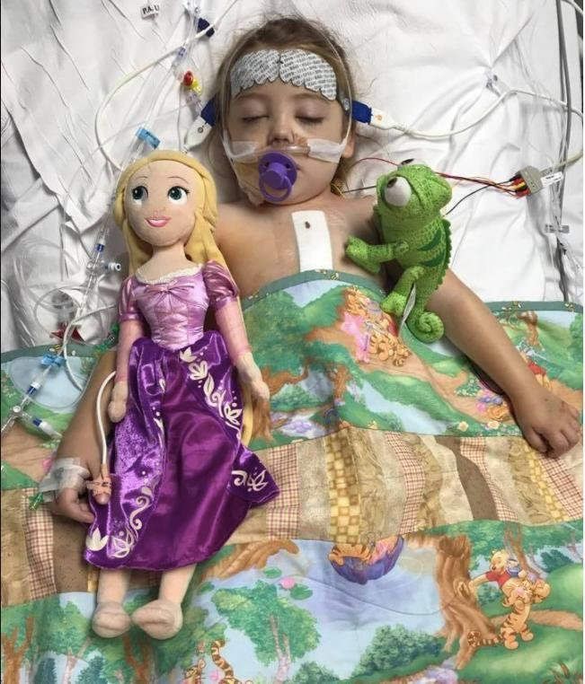 Chanel's wish before her open-heart surgery was that Rapunzel would be waiting for her at her bed. Photo: Facebook
