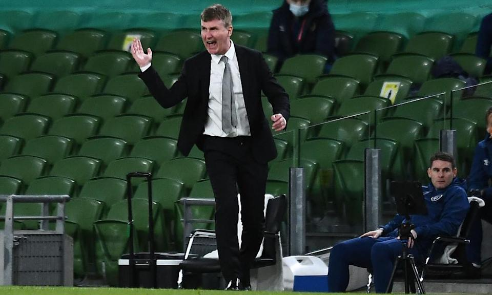 Stephen Kenny tries to rally his players during Ireland's home defeat to Luxembourg at the Aviva Stadium.