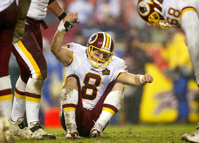 Tim Hasselbeck started five NFL games, including this one in 2003. (Getty Images)