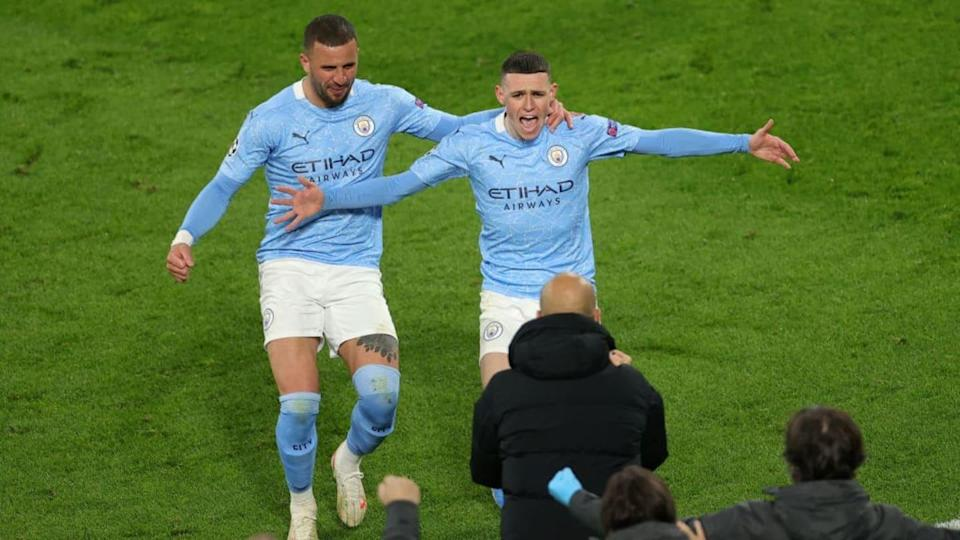 Phil Foden, Pep Guardiola, Kyle Walker | Pool/Getty Images