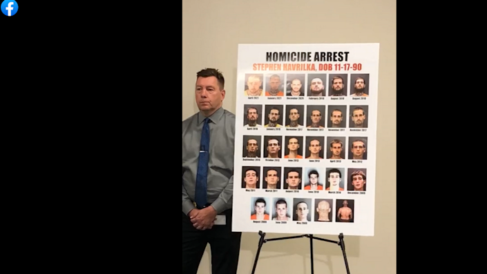 At a press conference on April 21, 2021, that announced the details of the murder of a Venice County motel housekeeper, Sarasota Sheriff's Office deputies show a poster board featuring mugshots of the man, Stephen Havrilka, who was arrested and charged with second degree murder. He has 34 prior felony arrests.