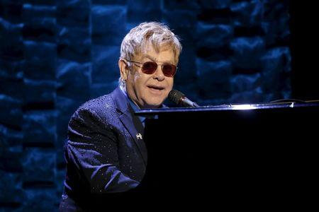"""Singer Elton John performs at the Hillary Victory Fund """"I'm With Her"""" benefit concert for U.S. Democratic presidential candidate Hillary Clinton at Radio City Music Hall in New York"""
