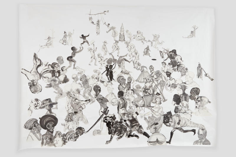"""Kara Walker, """"Christ's Entry into Journalism,"""" 2017, Sumi ink and collage on paper, 140 by 196 inches. (Kara Walker courtesy of Sikkema Jenkins Co New York)"""