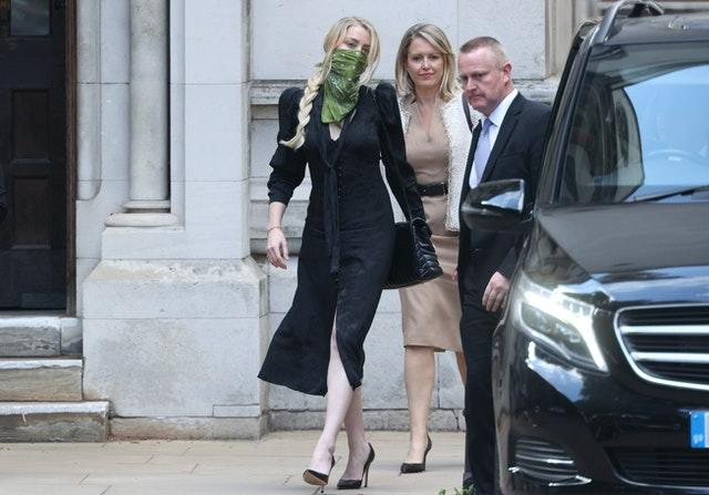Actress Amber Heard leaving the High Court in London