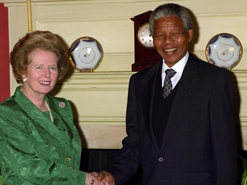Margaret Thatcher meets Nelson Mandela after his release in 1990: PA