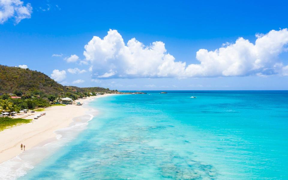 White sand beach from above, Caribbean