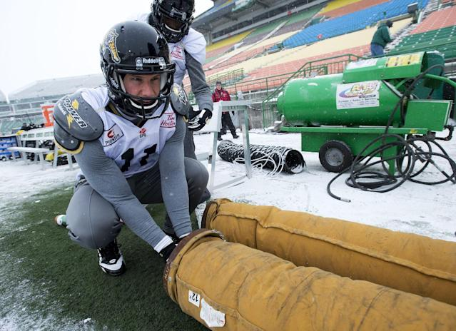 Hamilton Tiger-Cats wide receiver Samuel Giguere warms his hands during a practice in Regina, Saskatchewan, Wednesday Nov. 20, 2013. Hamilton and the Saskatchewan Roughriders will face off in the 101st Grey Cup on Sunday. (AP Photo/The Canadian Press, Paul Chiasson)