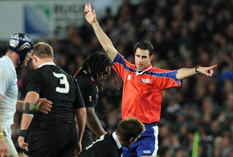 File photo taken on October 23, 2011 shows referee Craig Joubert during the Rugby World Cup final between New Zealand and France at Eden Park Stadium in Auckland