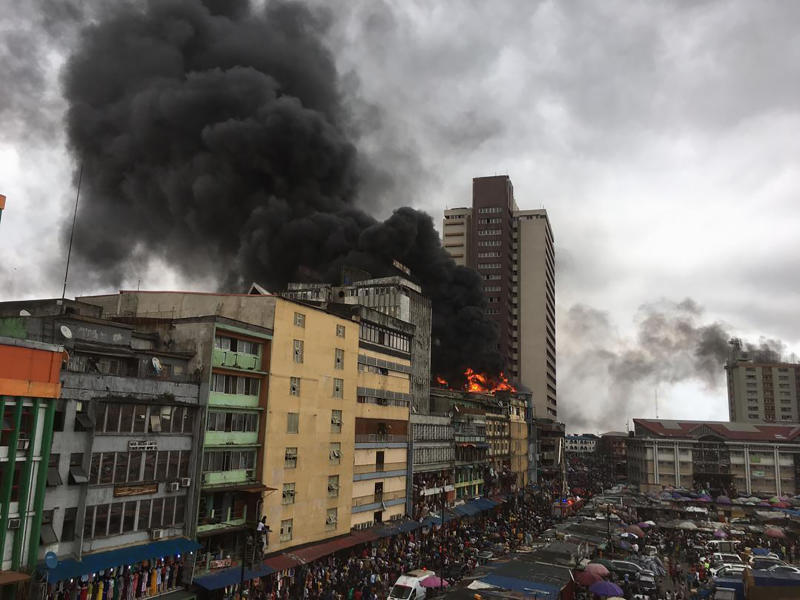 Popular Lagos Balogun market on fire