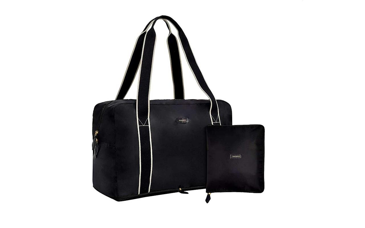 "<p>That friend who always manages to come back from a trip with a near-bursting suitcase stuffed with souvenirs will be relieved to have this versatile duffel. The nylon bag unfolds from a neat 10-in-by-8-in square into an 18-in-by-11-in carry-on that easily fits under a seat or inside an overhead bin.</p> <p>To buy: <a href=""https://www.amazon.com/gp/product/B07HJD2WDT/ref=as_li_tl?ie=UTF8&tag=tlggamazon18-20&camp=1789&creative=9325&linkCode=as2&creativeASIN=B07HJD2WDT&linkId=66d1091f9da1ae25467dea7d44a0ce05"" target=""_blank"">amazon.com</a>, $65</p>"