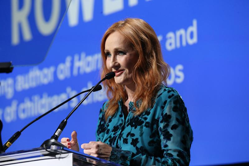 J.K. Rowling is seen accepting an award onstage during the Robert F. Kennedy Human Rights Hosts 2019 Ripple Of Hope Gala & Auction In NYC on December 12, 2019. Now she's again under fire for alleged transphobia. (Photo: Bennett Raglin/Getty Images for for Robert F. Kennedy Human Rights)