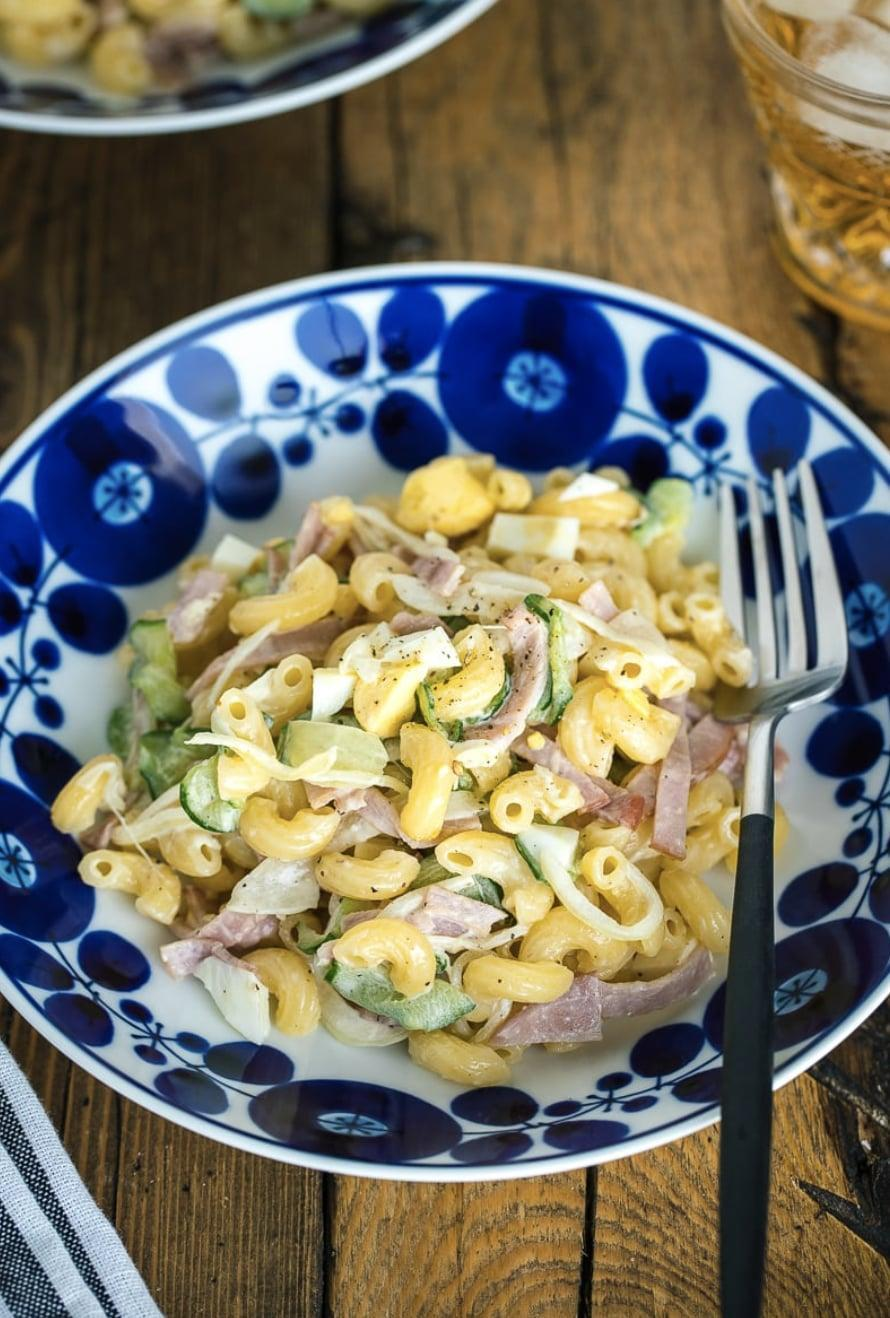 """<p>This Japanese macaroni salad is coated in a creamy, zesty, and sweet dressing that will make your taste buds swoon. Eggs, cucumbers, and ham work together to make this recipe taste unlike any other macaroni salad you've had. Since this is served as a side, we suggest making four servings for two people so you have enough to munch on.</p> <p><strong>Get the recipe:</strong> <a href=""""https://www.justonecookbook.com/japanese-macaroni-salad/"""" class=""""link rapid-noclick-resp"""" rel=""""nofollow noopener"""" target=""""_blank"""" data-ylk=""""slk:Japanese macaroni salad"""">Japanese macaroni salad</a></p>"""