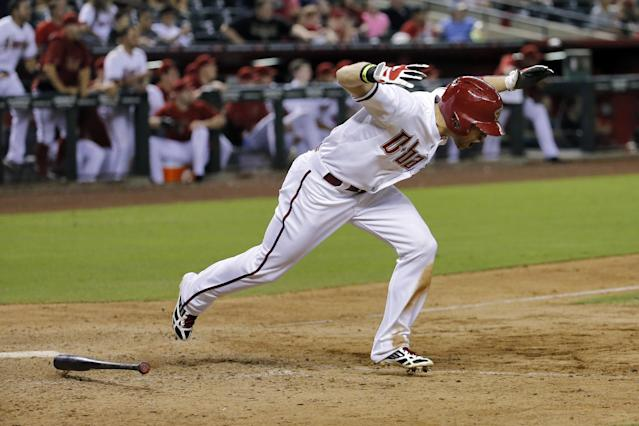 Arizona Diamondbacks' Ender Inciarte reacts to his RBI single during the 11th inning of a baseball game against the Cleveland Indians, Tuesday, June 24, 2014, in Phoenix. (AP Photo/Matt York)