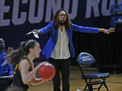 Kentucky head coach Kyra Elza gives instruction to her team during the second half of a college basketball game in the second round of the women's NCAA tournament at the Greehey Arena in San Antonio, Texas, Tuesday, March 23, 2021. Iowa defeated Kentucky 86-72. (AP Photo/Ronald Cortes)