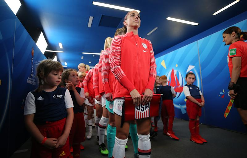 LE HAVRE, FRANCE - JUNE 20: Alex Morgan of the USA waits in the tunnel prior to the 2019 FIFA Women's World Cup France group F match between Sweden and USA at Stade Oceane on June 20, 2019 in Le Havre, France. (Photo by Maddie Meyer - FIFA/FIFA via Getty Images)