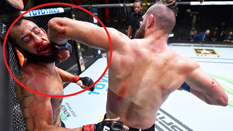 Jiri Prochazka (pictured right) knocking out Dominick Reyes (pictured left) with a spinning elbow.