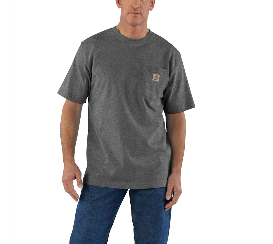"""<h3><h2>Carhartt Workwear Pocket T-Shirt</h2></h3><br><strong>Under $20</strong><br>Many men of all shapes and sizes swear by this Carhartt pocket tee (1,076 of them, to be precise). With a solid cotton construction and a practically stretch-proof neck, it's a sure-fire dad-pleaser that won't break the bank one bit.<br><br><em>Shop Carhartt on <strong><a href=""""https://amzn.to/3pwtBCx"""" rel=""""nofollow noopener"""" target=""""_blank"""" data-ylk=""""slk:Amazon"""" class=""""link rapid-noclick-resp"""">Amazon</a></strong></em><br><br><strong>Carhartt</strong> Workwear Pocket T-Shirt, $, available at <a href=""""https://go.skimresources.com/?id=30283X879131&url=https%3A%2F%2Fwww.carhartt.com%2Fproducts%2FWorkwear-Pocket-T-Shirt-K87"""" rel=""""nofollow noopener"""" target=""""_blank"""" data-ylk=""""slk:Carhartt"""" class=""""link rapid-noclick-resp"""">Carhartt</a>"""